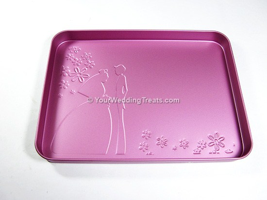 pink aluminum gift box with marriage theme