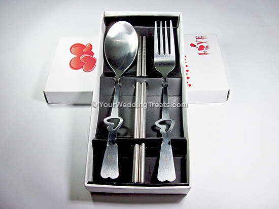 fork spoon chopsticks gift set with white box