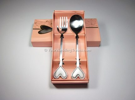 fork spoon heart series pink box