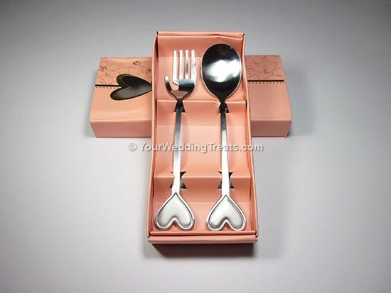 fork spoon heart series pink box