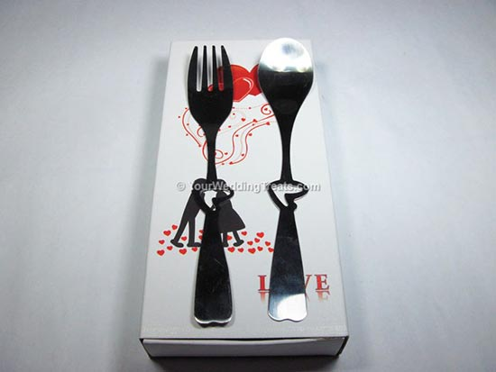 gift fork and spoon white box