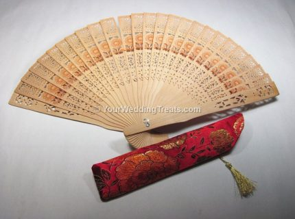 hand fan with red jacket