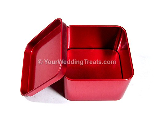 red aluminum square favor box
