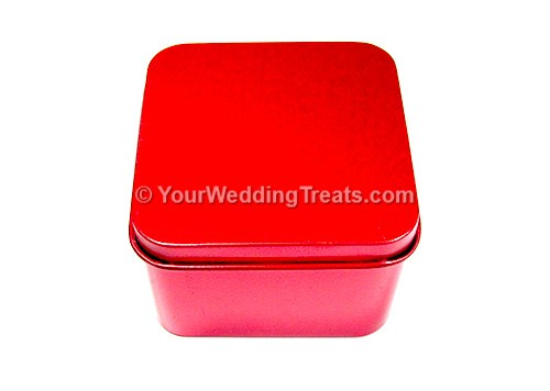 red aluminum square shaped favor box