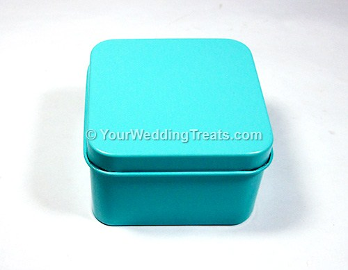 sky blue aluminum square shaped favor box