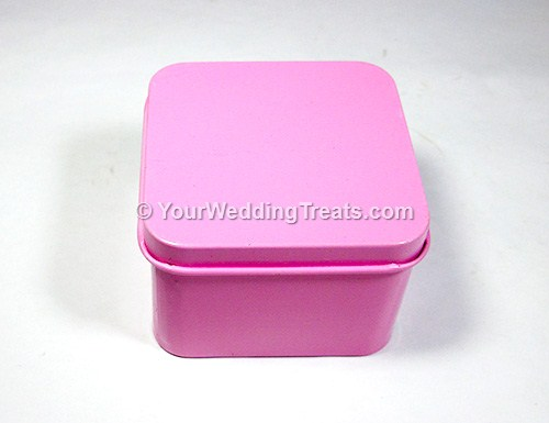 pink aluminum square shaped favor box