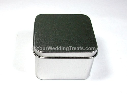 silver aluminum square shaped favor box