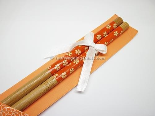 orange color bamboo chopsticks