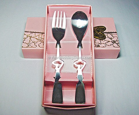 fork and spoon gift set in pink box