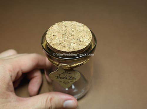 wedding favor glass jar with cork stopper