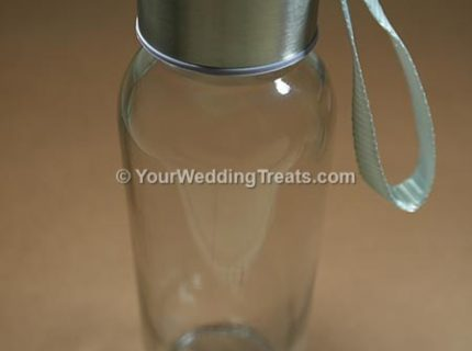 wedding favor long glass bottle with silver cover