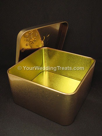 aluminum gift box gold color opened