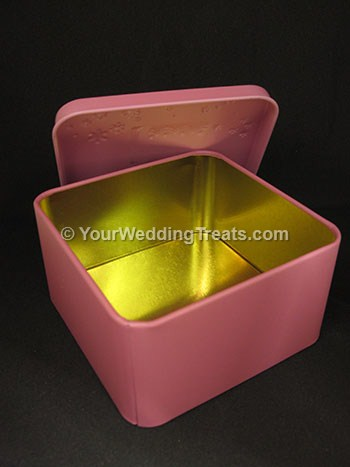 aluminum gift box pink color opened